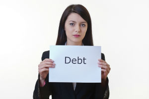Yound Business Woman with debt sign